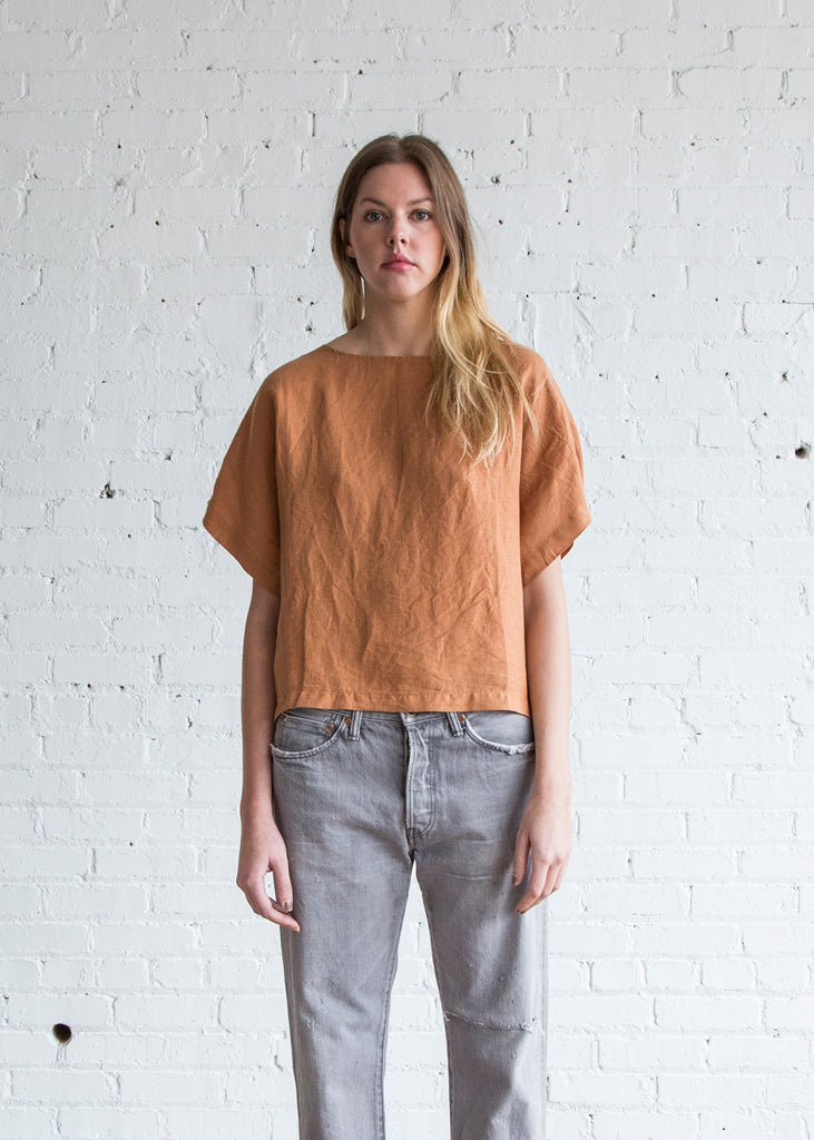Black Crane Linen Box Tee Rust - SOLD OUT
