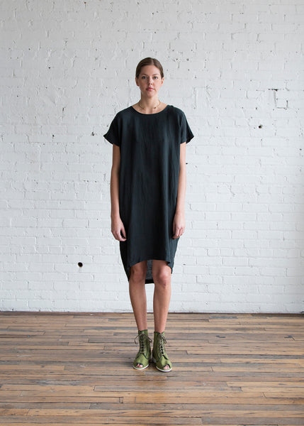 Black Crane Pleated Cocoon Dress Black