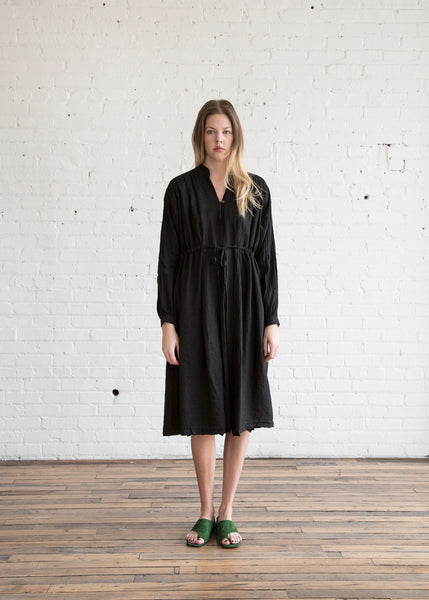 Black Crane Poet Dress Black