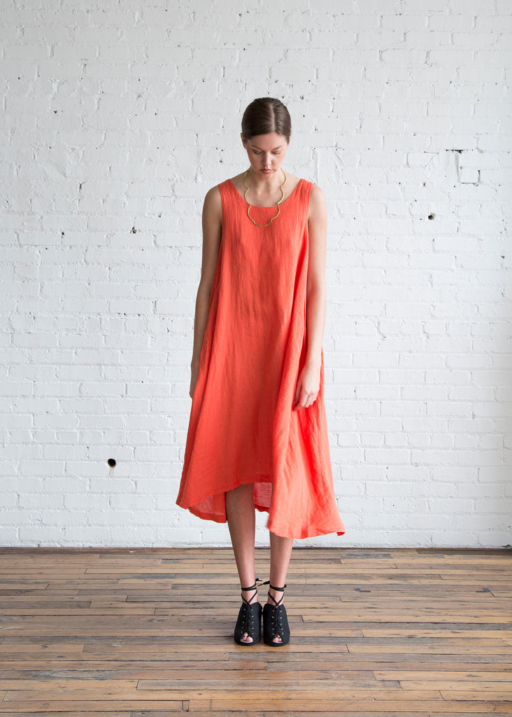 Black Crane Tank Dress Paprika
