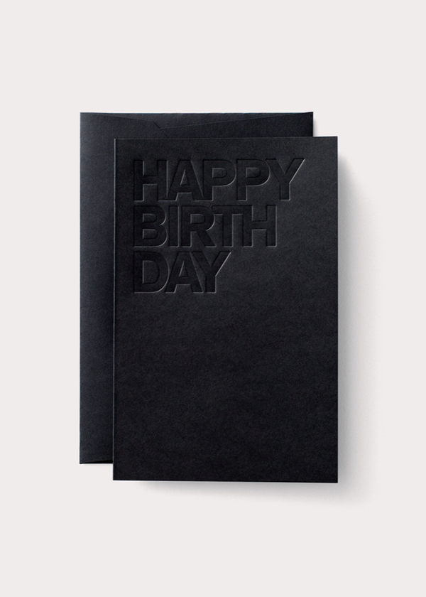 Letterpress Black Birthday Card