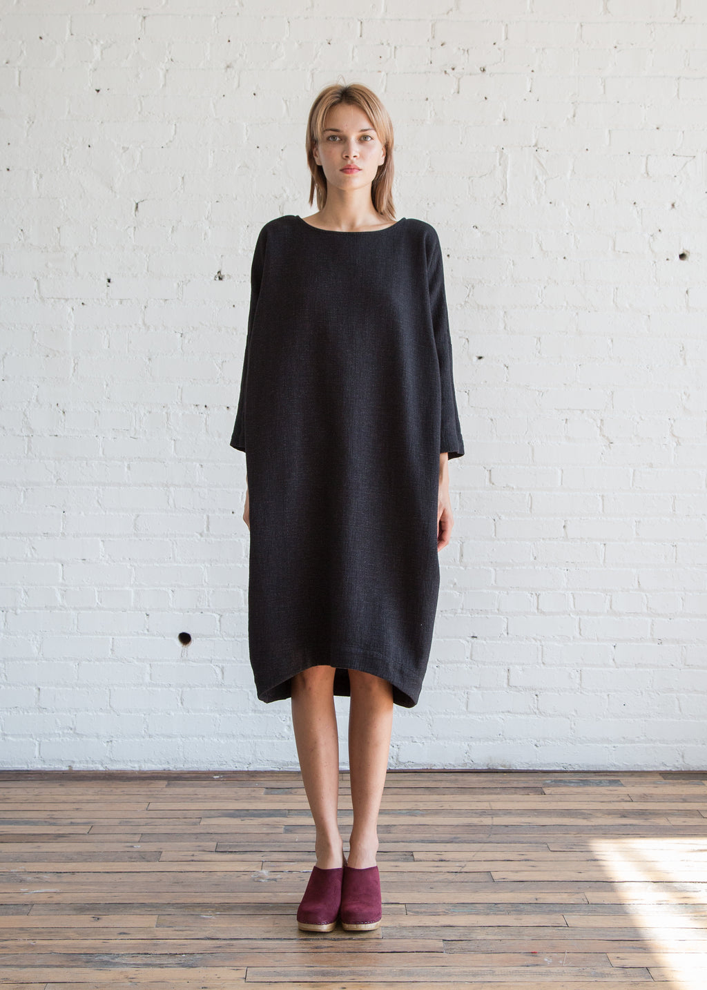 Black Crane Bud Dress Black Cotton - SOLD OUT