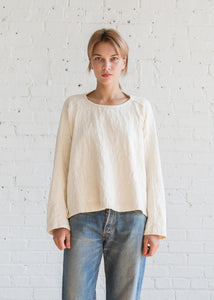 Black Crane Jacquard Top Cream Cotton