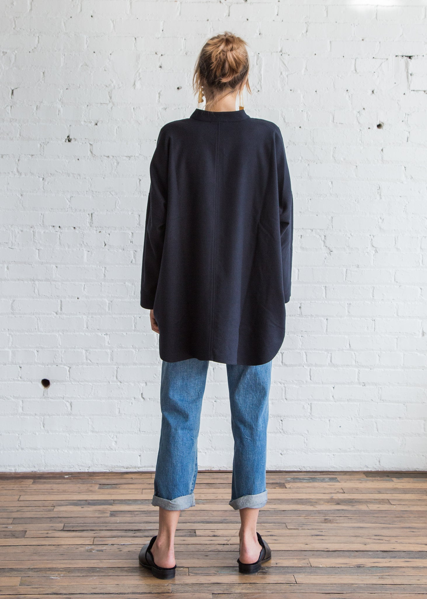 Black Crane Square Shirts Navy Cotton