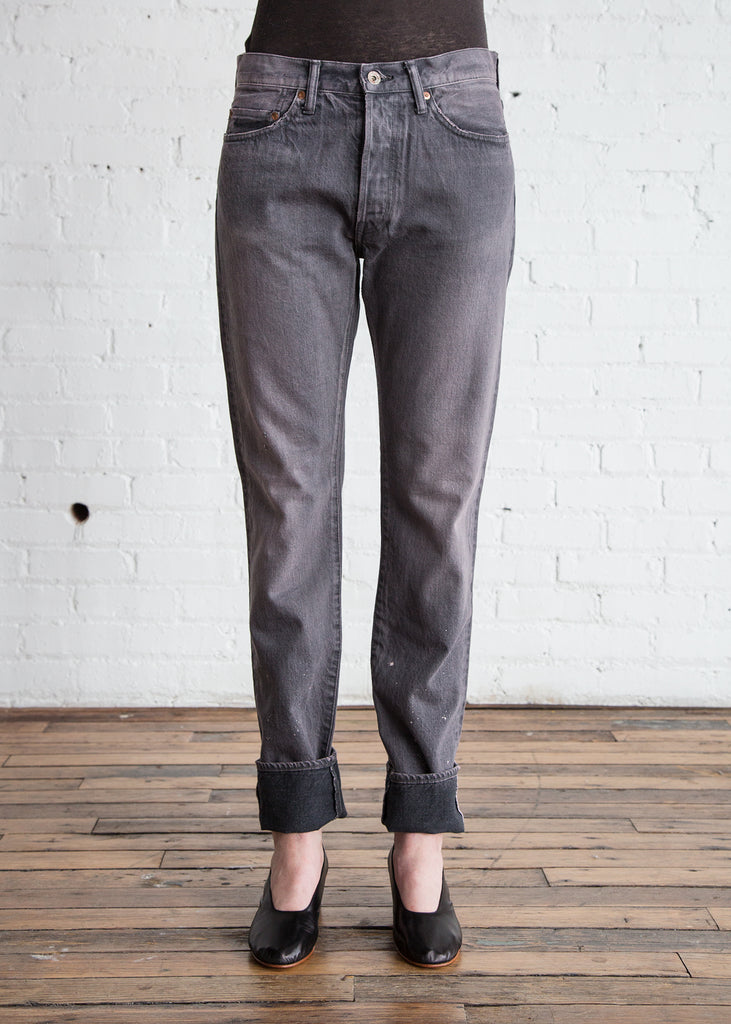 Chimala Selvedge Denim Narrow Tapered Cut Used Charcoal