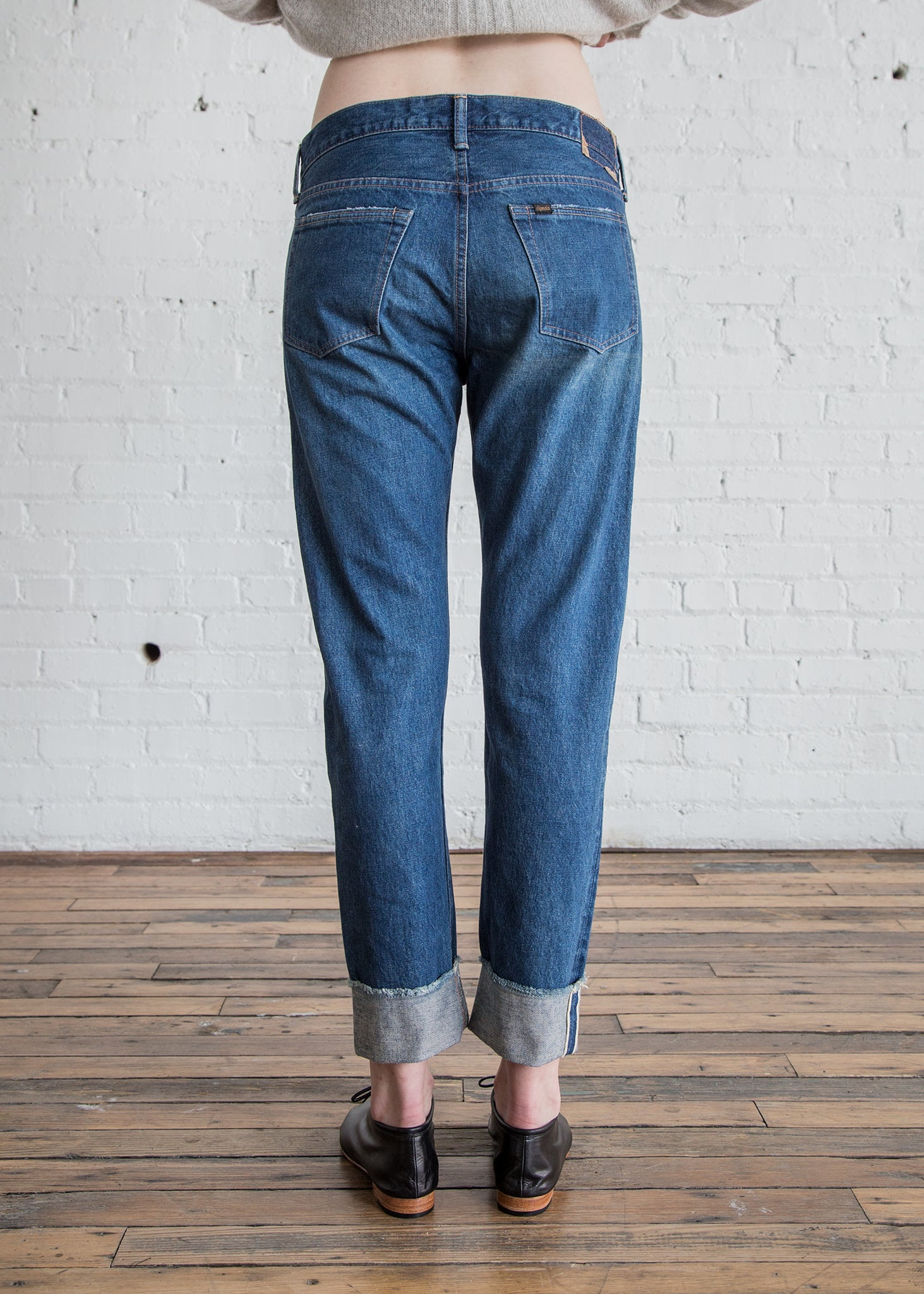 Chimala Selvedge Denim Narrow Tapered Cut Denim Damaged Medium