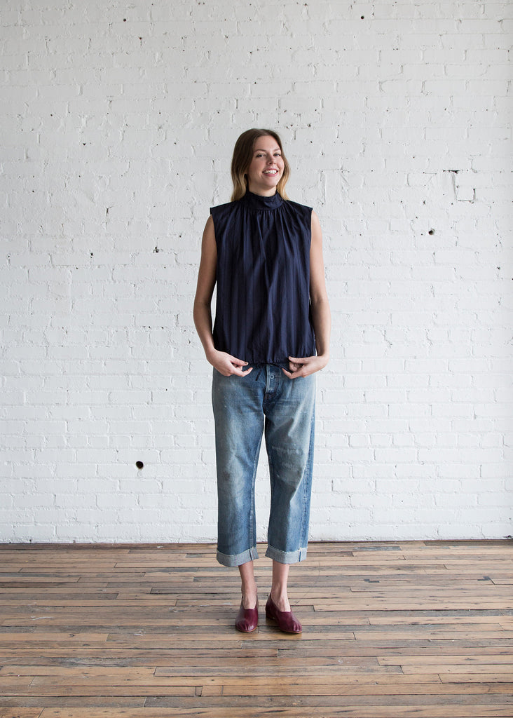 Chimala Sleeveless High-Neck Blouse Navy