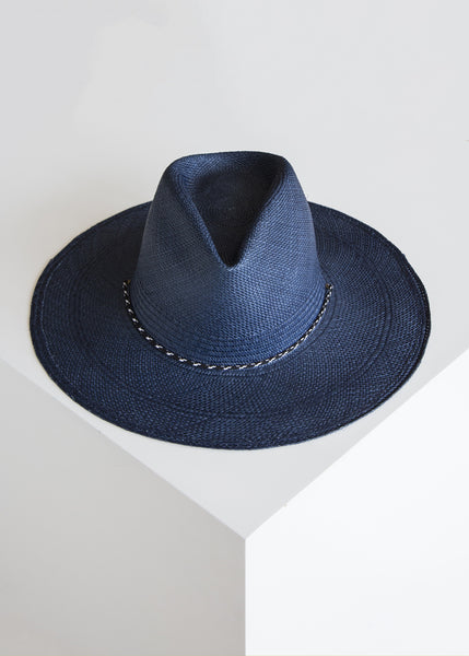 Clyde New Mexico Hat Navy/Panama Straw