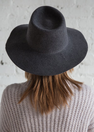 Clyde Wide Brim Pinch Hat Charcoal