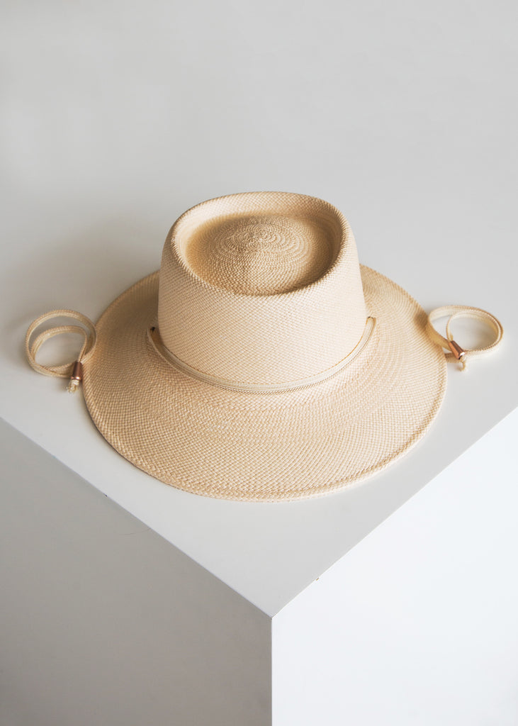 Clyde Telescope Hat Peach/Panama Straw