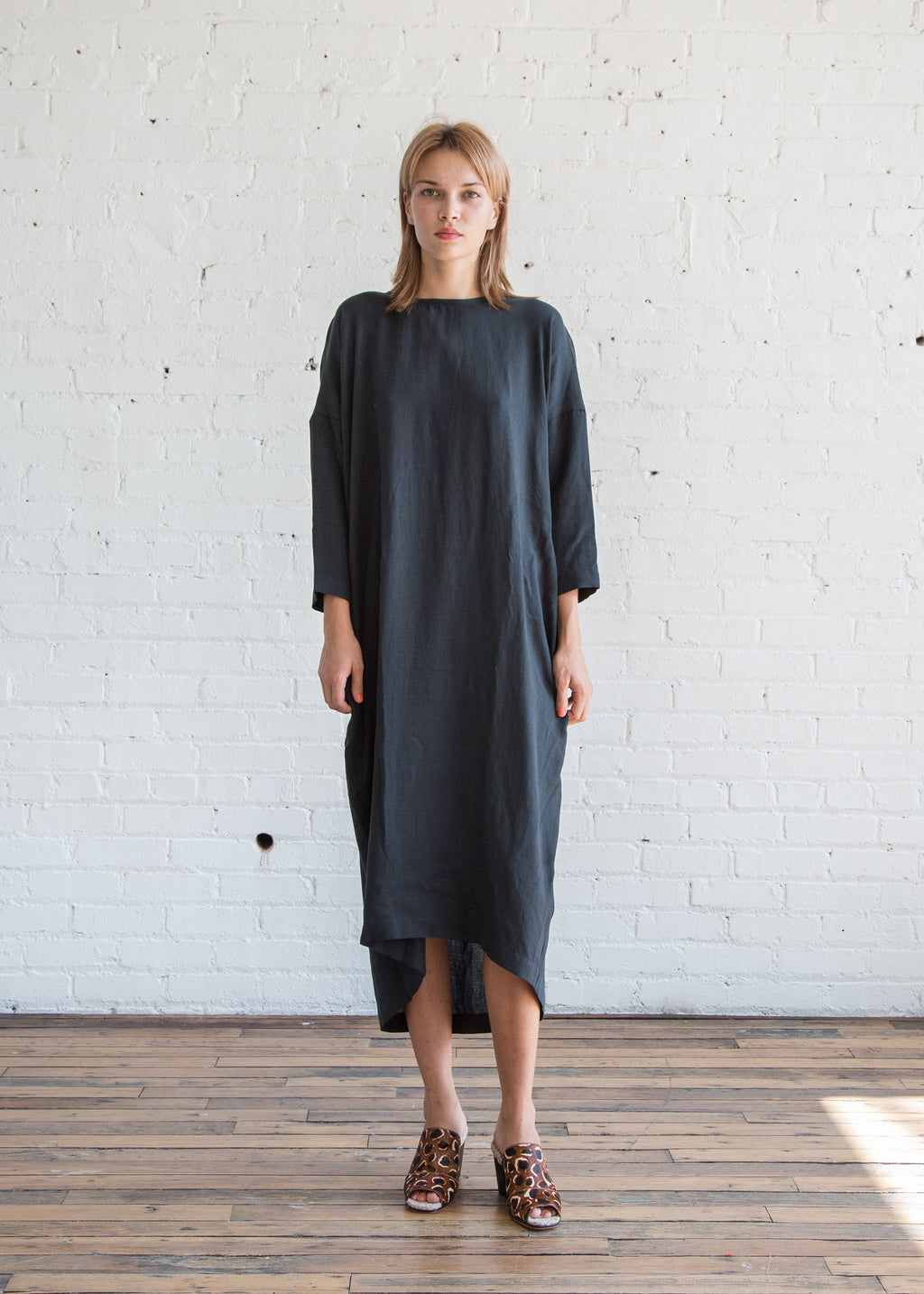 Black Crane Pleated Cocoon Dress Dark Green Tencel