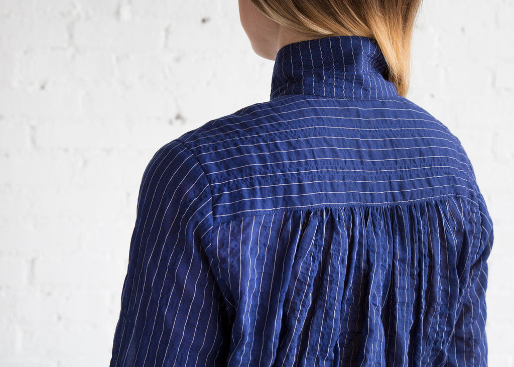Horses Atelier High Collar Blouse Japanese Pinstripe