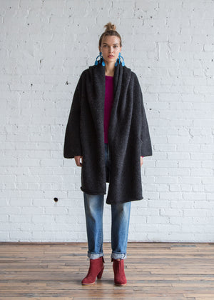 Lauren Manoogian Capote Coat Black Melange - SOLD OUT