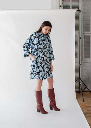 Lulu Shirt Dress in Black/Sky Tulip