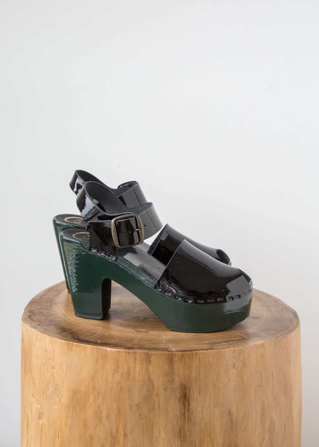No.6 Jane Clog w Peep Toe Black/Green