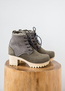 No.6 Lander Lace Up Shearling Boot Storm Suede - SOLD OUT