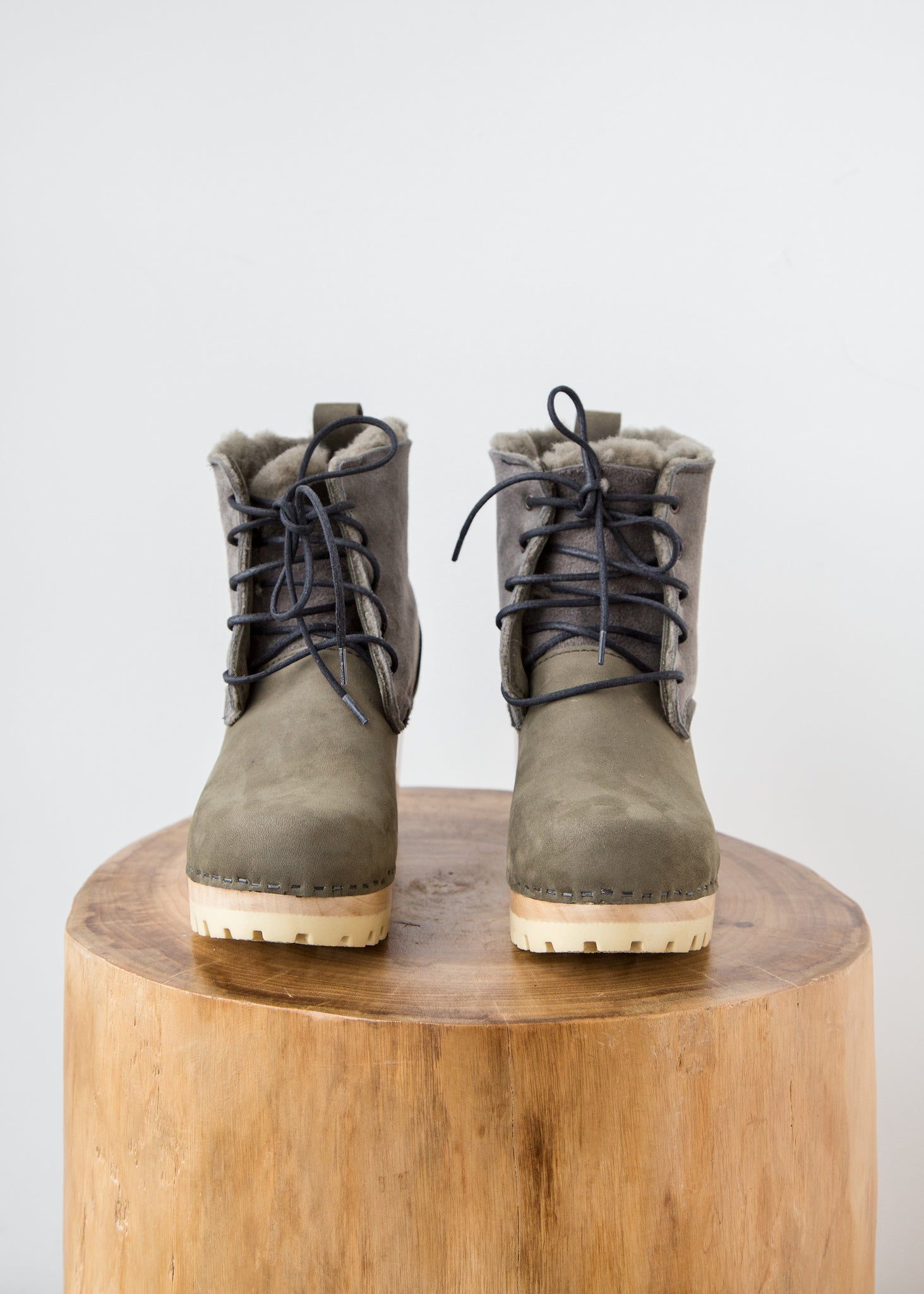 No.6 Lander Lace Up Shearling Boot Storm Suede