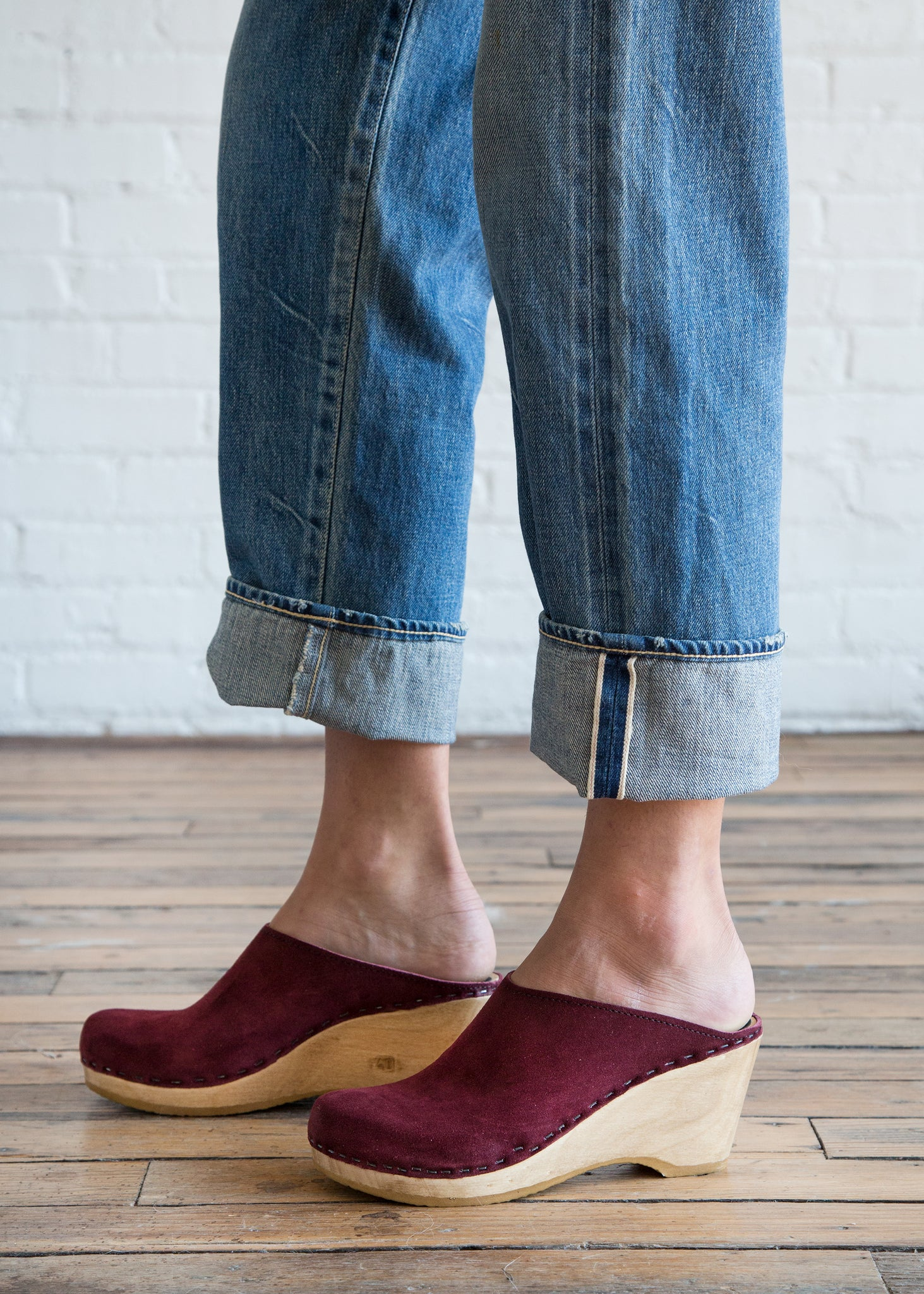 No.6 New School Clog on Wedge Burgundy Suede - SOLD OUT