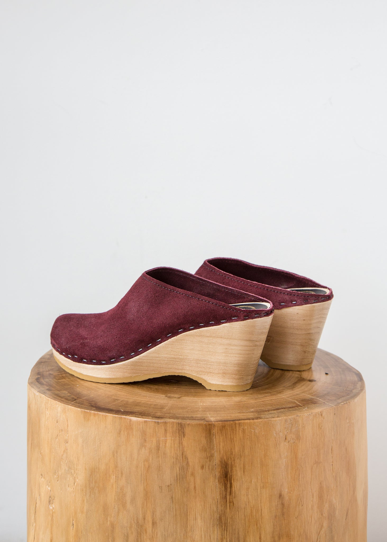 No6 New School Clog On Wedge Burgundy Suede Sold Out Finefolk