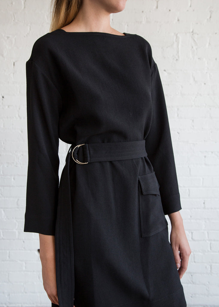 Nomia Belted Pocket Dress Black