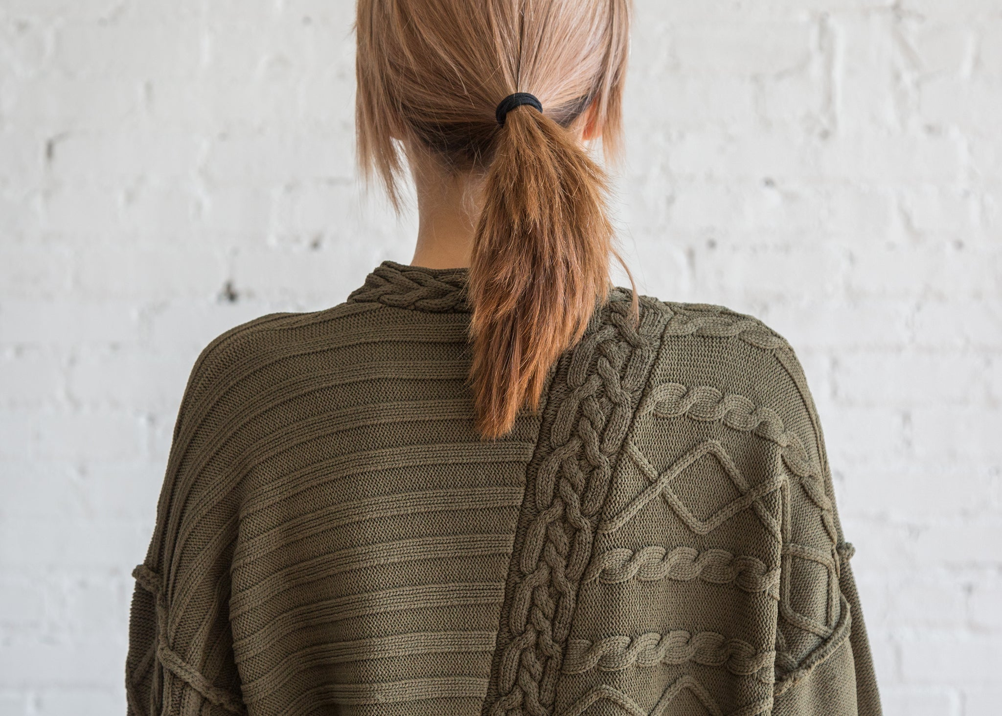 Nomia Deconstructed Cable Knit Olive - SOLD OUT