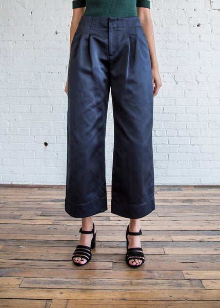 Nomia Pleated Wide Leg Pants Midnight