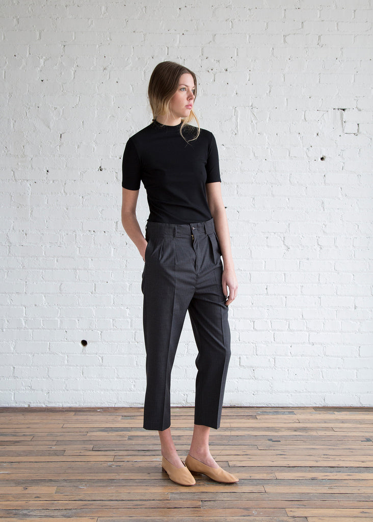 Chimala Cropped Pleats Trouser Navy
