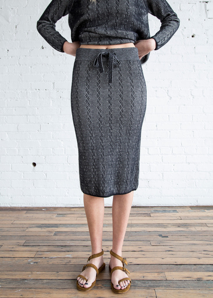 M.PATMOS Robert Cabled Skirt Black/Ivory - SOLD OUT