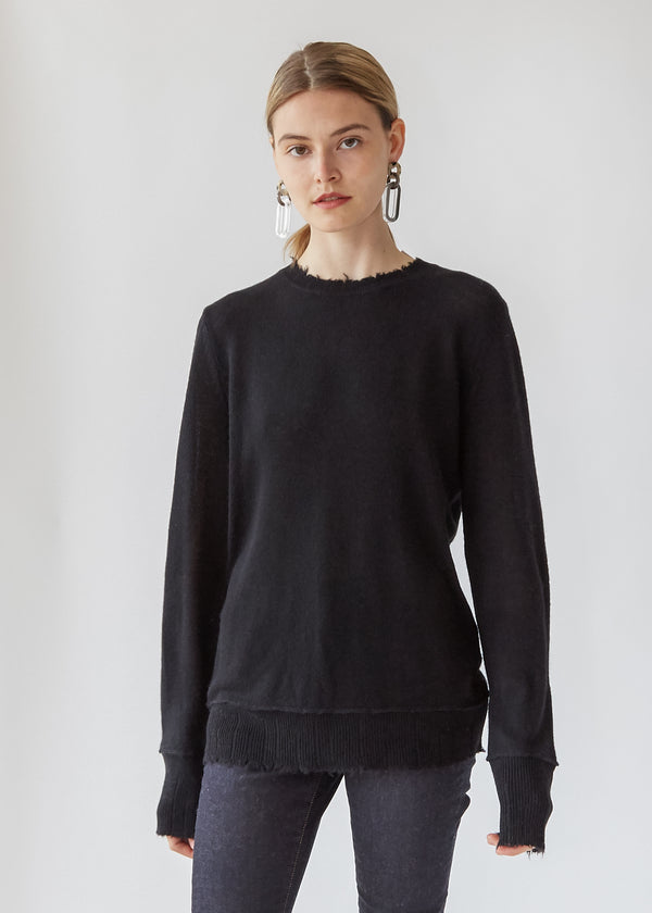 Distressed Edge Sweater in Black
