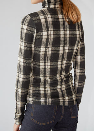 Plaid Turtleneck in Black/White Plaid