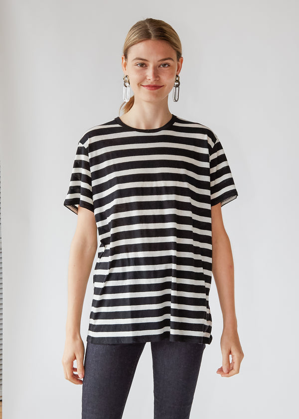 Striped Boy Tee in Black/Ecru