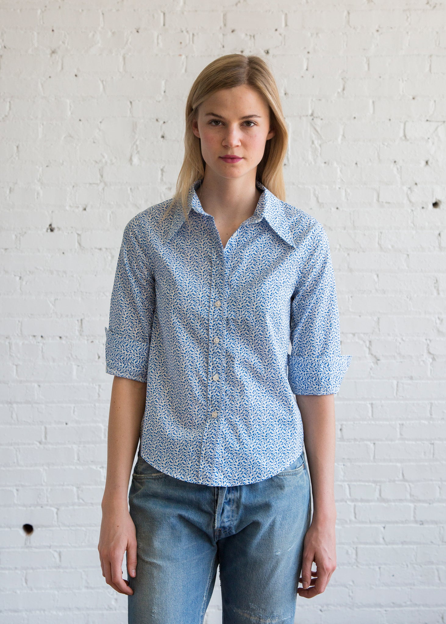 Exaggerated Collar Shirt in Blue Pattern