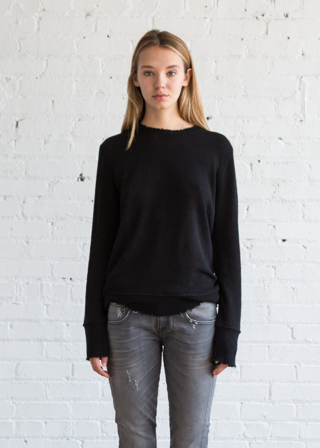 r13 Distressed Edge Sweater Black