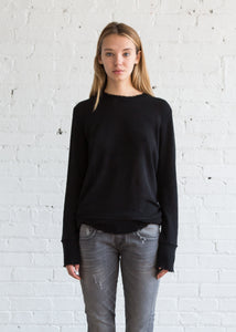 r13 Distressed Edge Sweater Black - SOLD OUT