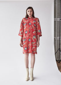 Hawaiian Kimono Dress in Red Fish - SOLD OUT