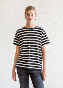 r13 Striped Boy T Black w/ Ecru