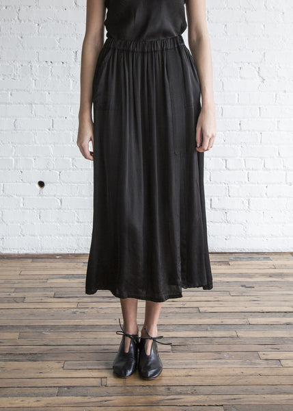 Raquel Allegra Ribbon Midi Skirt Black