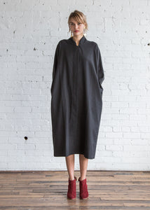 Black Crane Cubic Dress Dark Grey/Cotton