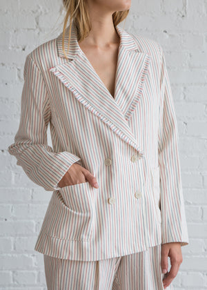 Raquel Allegra Cotton Tickling Stripe Double Breasted Jacket Natural Red Blue