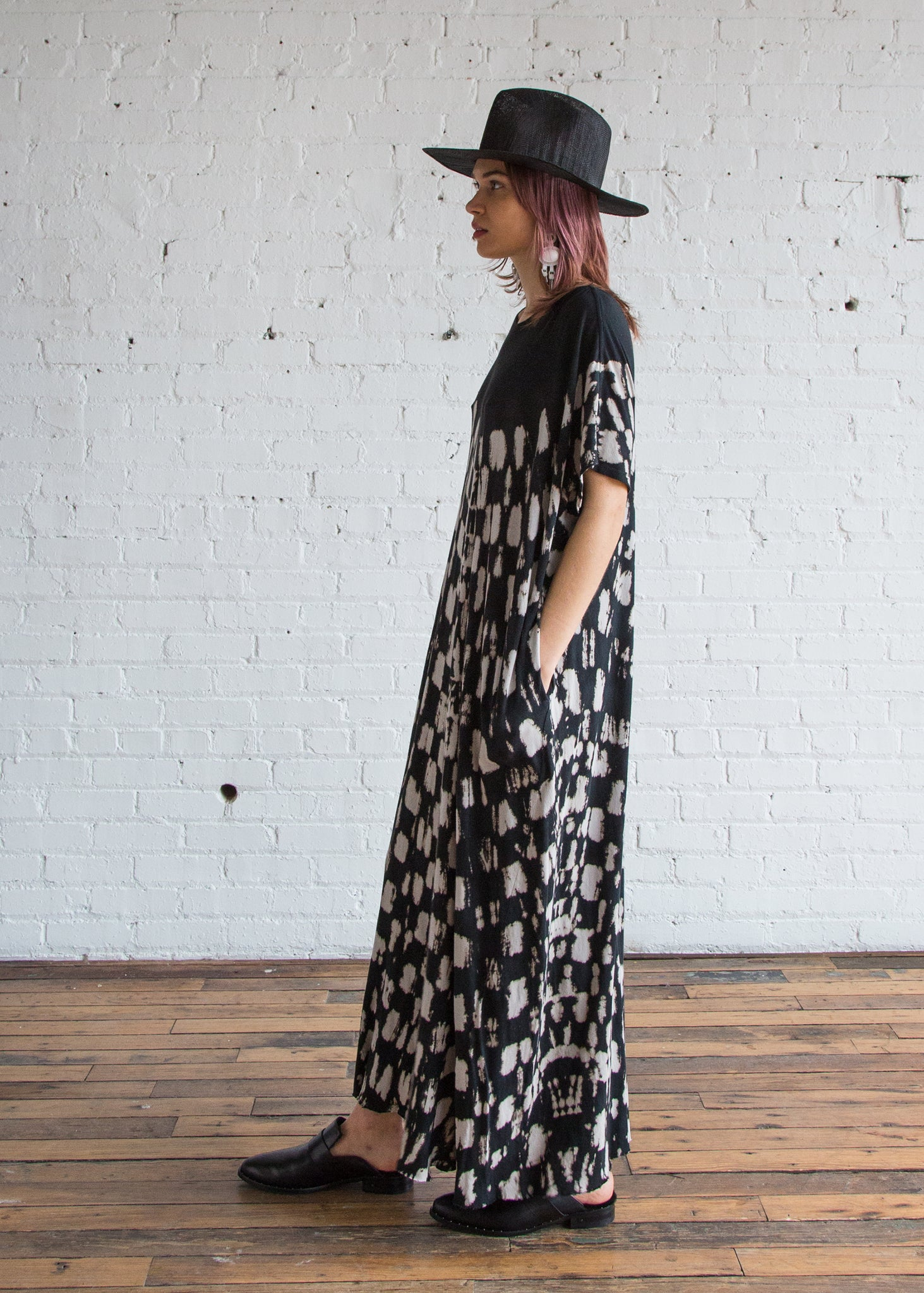Gathered Caftan Maxi Dress in Black