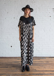 Raquel Allegra Gathered Caftan Maxi Dress Black