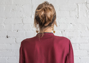 Raquel Allegra Henley Silk Fouland / Crimson - SOLD OUT