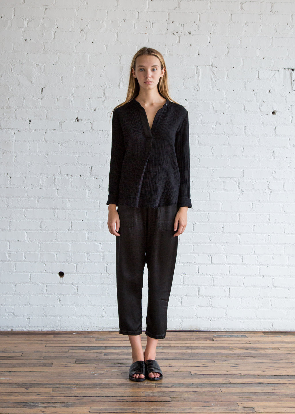 Raquel Allegra Textured Gauze + Grosgrain Ribbon Henley Black
