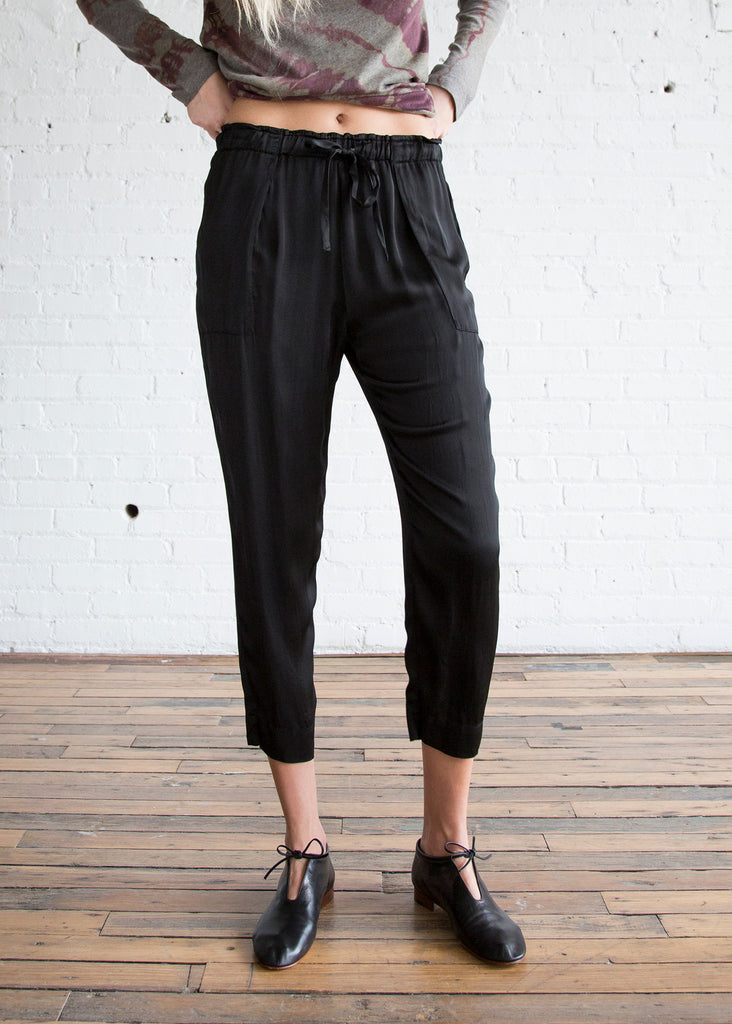 Raquel Allegra Liquid Satin Drawstring Pant Black