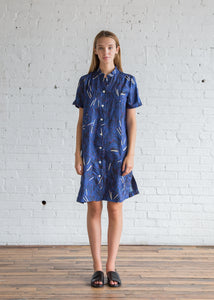 Raquel Allegra Matchstick Twill Mandarin Shirt Dress Royal Blue