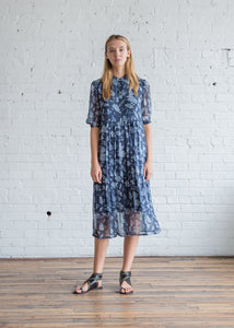 Raquel Allegra Floral Bandana Chiffon Peasant Tiered Dress Navy - SOLD OUT