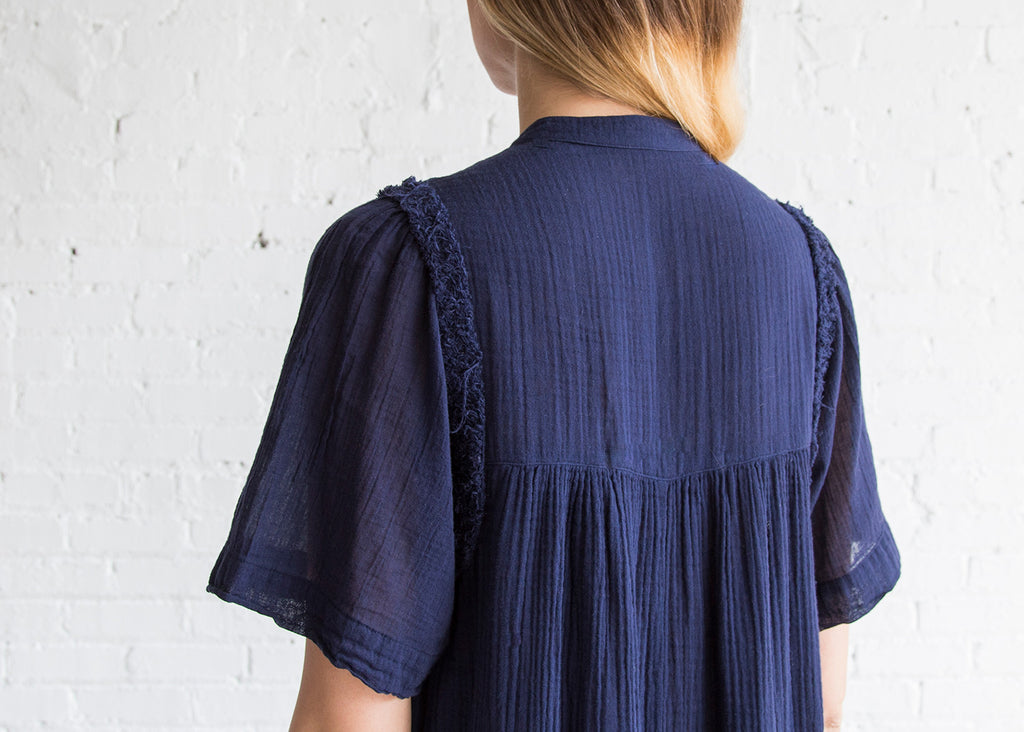 Raquel Allegra Peasant Dress Navy