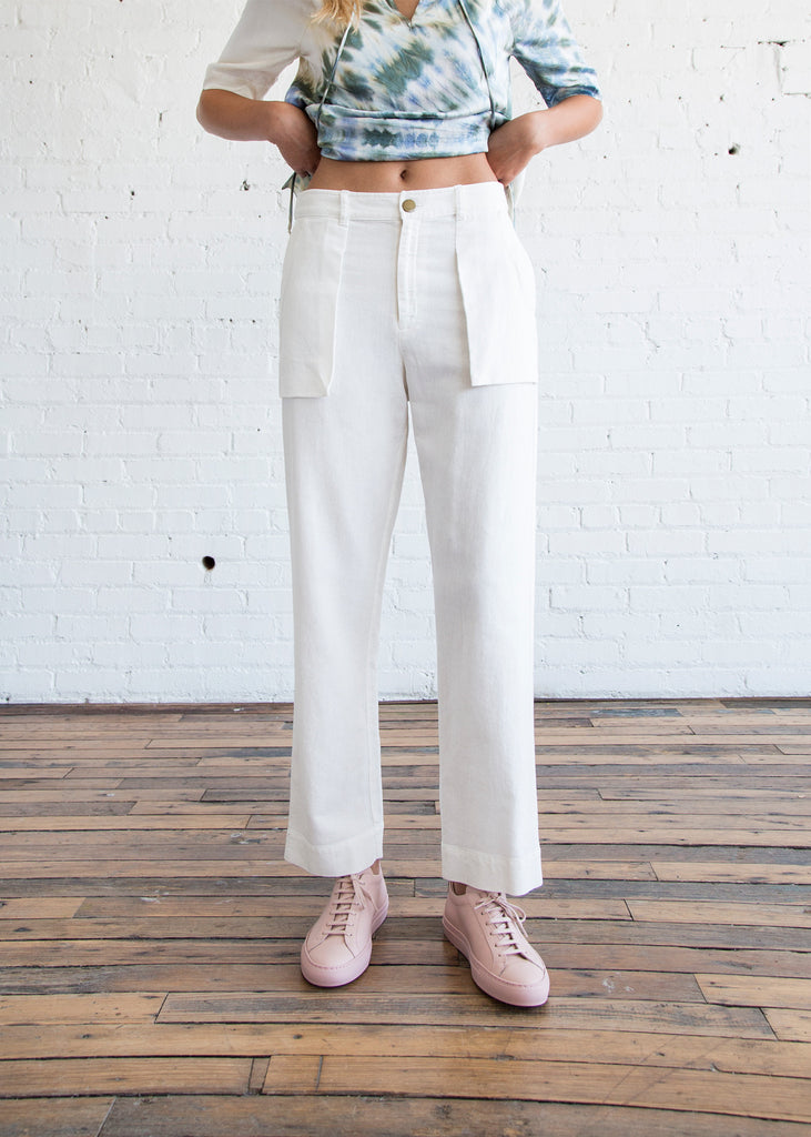 Raquel Allegra Raw Cotton Pocket Pant White