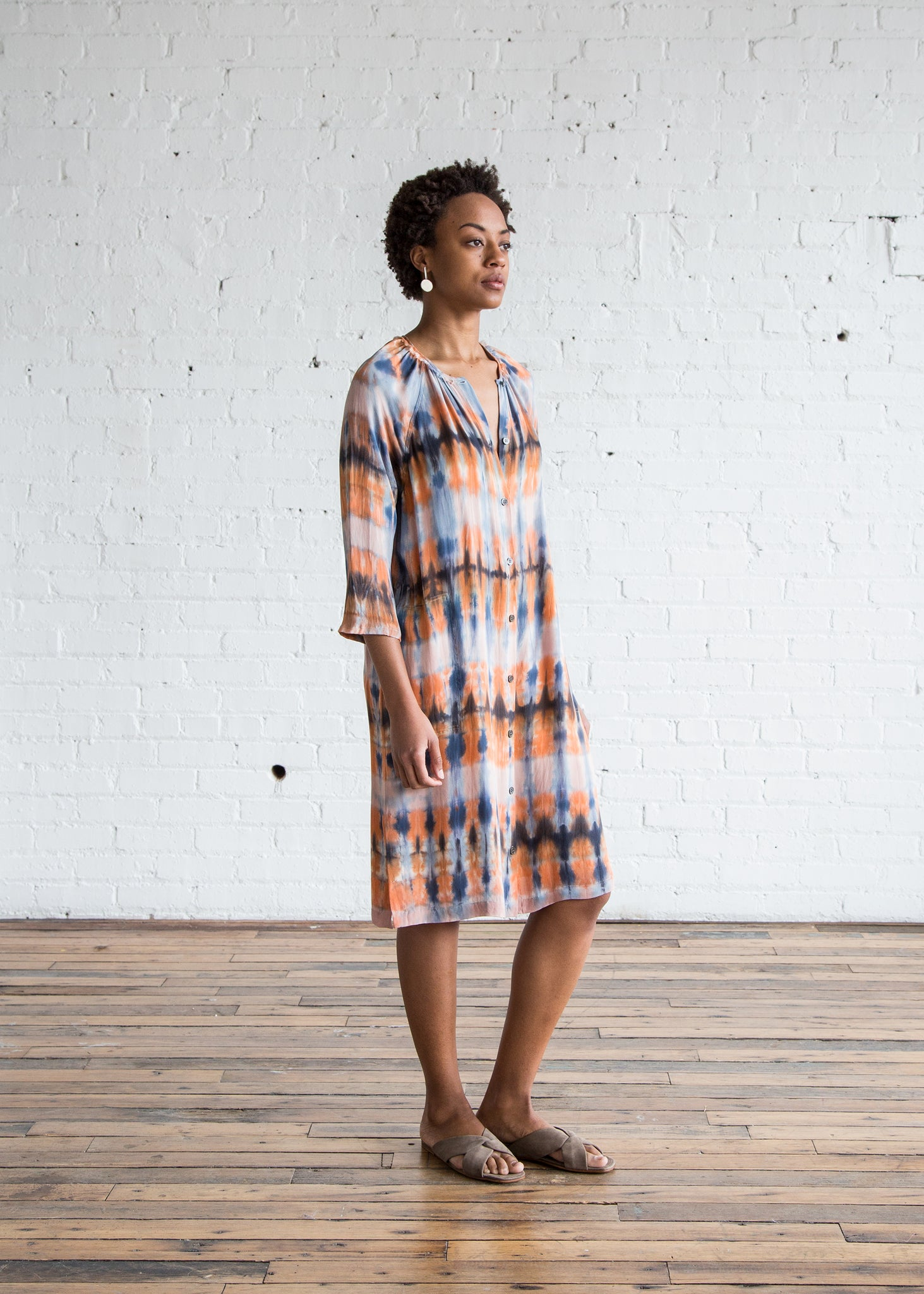 Raquel Allegra Raglan Shirt Dress Blue Tiger's Tie Dye
