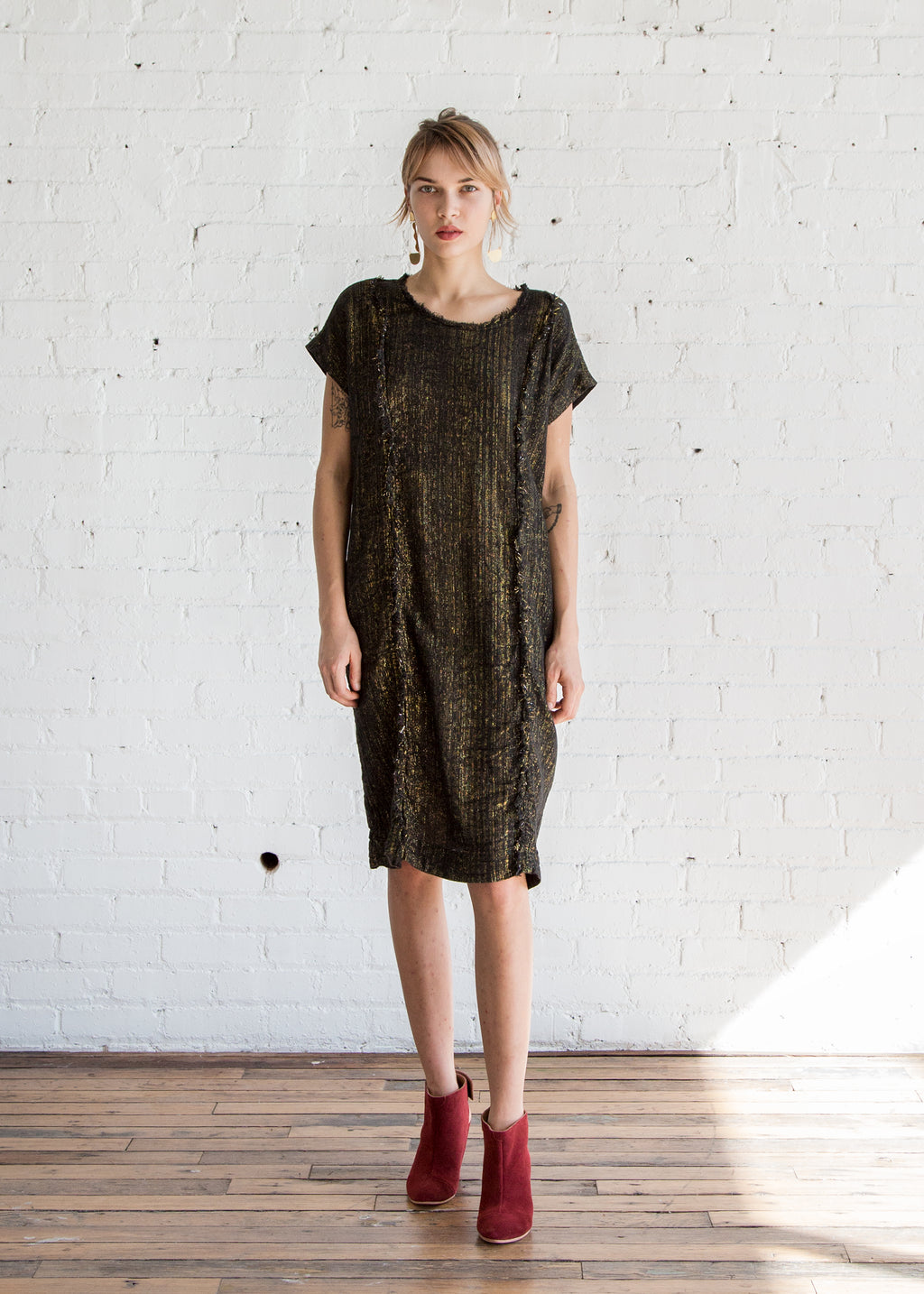 Raquel Allegra Raw Edge T Shirt Dress Lame Broadcloth / Black - SOLD OUT
